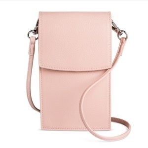 Women's Cellphone Crossbody Handbag- Blush